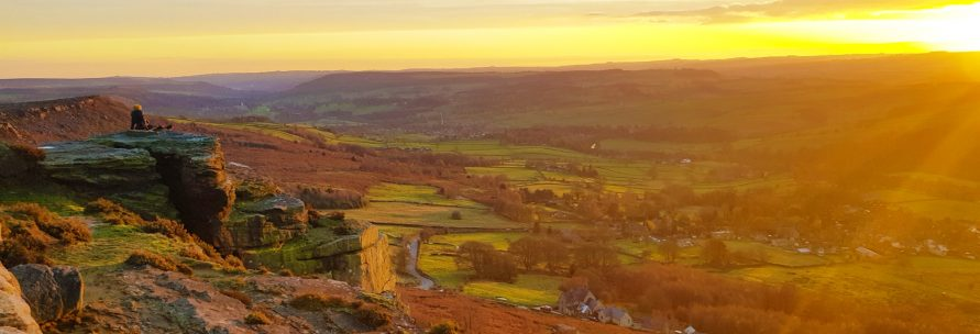 View over The Peak District at sunset